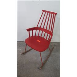 Comback Rocking Chair, Orange/Red, Seat 22.5  x 17 , Back 38.5  H