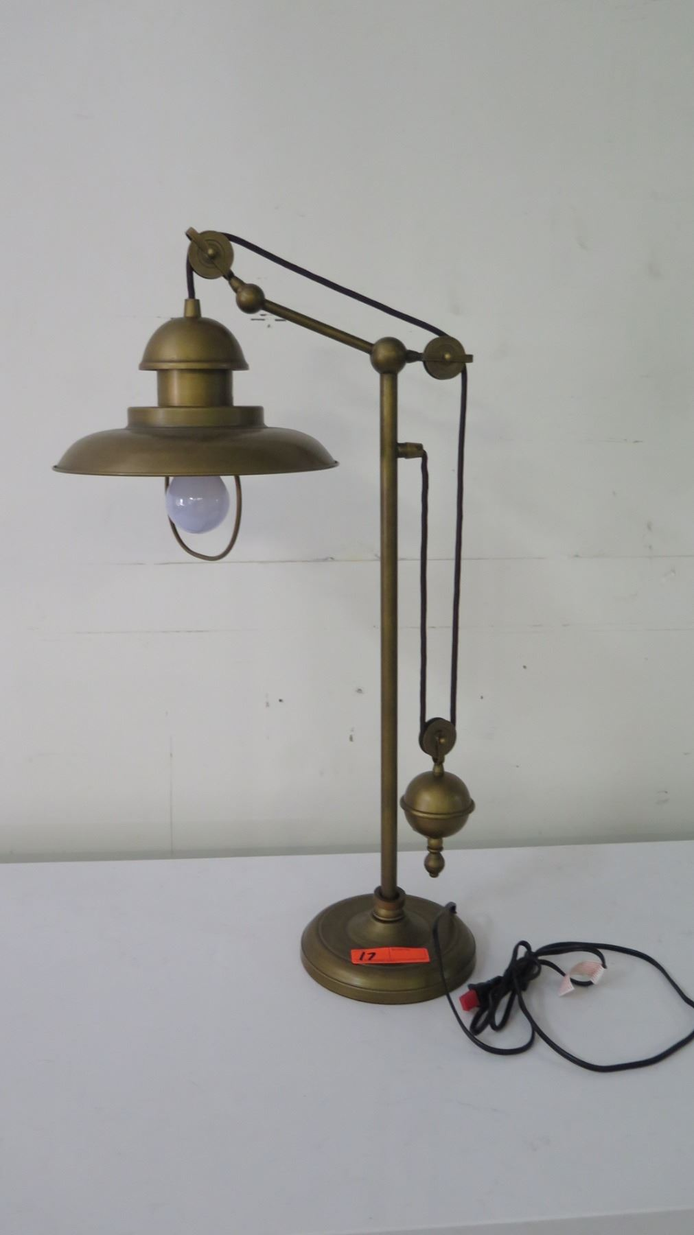 """Pulley Metal Desk Lamp, Approx. 32"""" H - Oahu Auctions"""