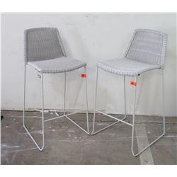 "Qty 2 Lt. Gray Woven Rattan Bar Chairs (seat 17"" W x 23"" D), 40"" H"