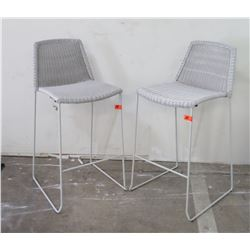 "Qty 2 Lt. Gray Woven Rattan Bar Chairs (seat 17"" W x 23"" D), 40"" H"