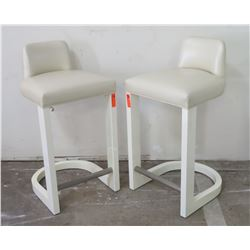 "Pair: White Leather Upholstered Barstools (seat 20"" W x 20"" D), 39"" H"