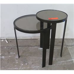 "Dual-Height Double Round Side Table (16"" & 12"" dia, 21"" H)"