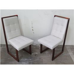 """Qty 2 White Dining Chairs, Tufted Linen Upholstery, Wooden Frame 19""""L x 25""""W x 40""""H"""