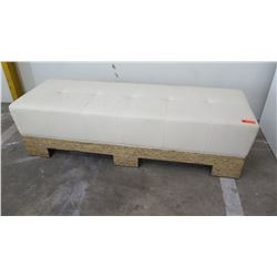 Leather Upholstered Bench w/ Wooden Frame, Cream/Ivory 72  x 25