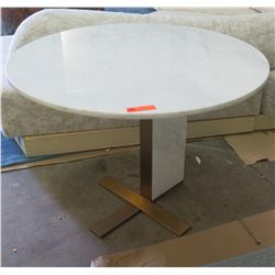 """Round Stone Top Dining Table w/ Metal Base by Berman Falk 40"""" dia, 30"""" H"""
