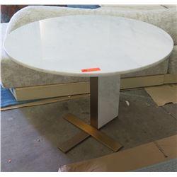 """Round Stone Top Table w/ Stone & Metal Base by Berman Falk 40"""" dia, 30"""" H"""
