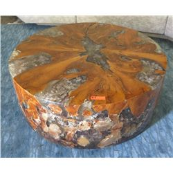 Round Coffee Table w/ Solid Wood & Resin 47  dia, 17  H
