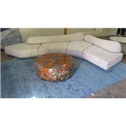 Large Geometric Sectional Modular Sofa Seating, Textural Pattern (4 pcs w/2 lumbar cushions) 13'L x