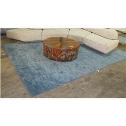 "Blue Rectangular Patterned Rug 13'9"" x 10'"