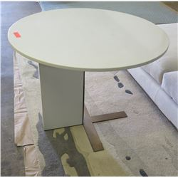 Round White Stone Table w/ Stone & Metal Base 40  Dia (by Lacquercraft)