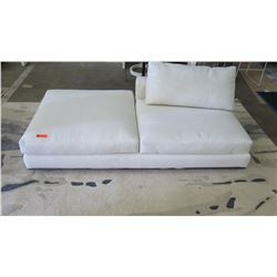 "White Minotti Sofa Lounger w/ Cushion, Woven Textural Upholstery 41"" x 40"""