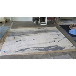 White Abstract Pattern Rug w/Gray, Beige, Approx. 8' x 11'