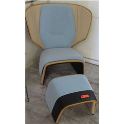 """Wooden Leather Chair w/ Bue Upholster Overlay (37"""" x 20) w/ Matching Ottoman (20"""" x 17"""")"""