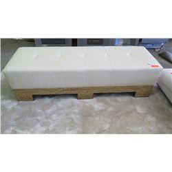 """Leather Upholstered Bench w/ Wooden Frame, Cream/Ivory 72"""" x 25"""""""