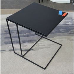 "Black Square Side Table w/ Black Metal Frame 19.5"" x 19.5"", 21.5"" H"