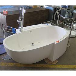 """Custom Freestanding Oval Bathtub w/Hardware & Accessories, Designed by Richard Meier, 6' Long, 45"""" W"""