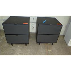 "Pair of Wooden Espresso Nightstands, Lacquer Finish on Drawers, 19.75""W, 19.75"" D, 24"" H"
