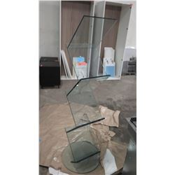 """Tall Glass Display Stand 65"""" H, Base 20"""" Dia."""