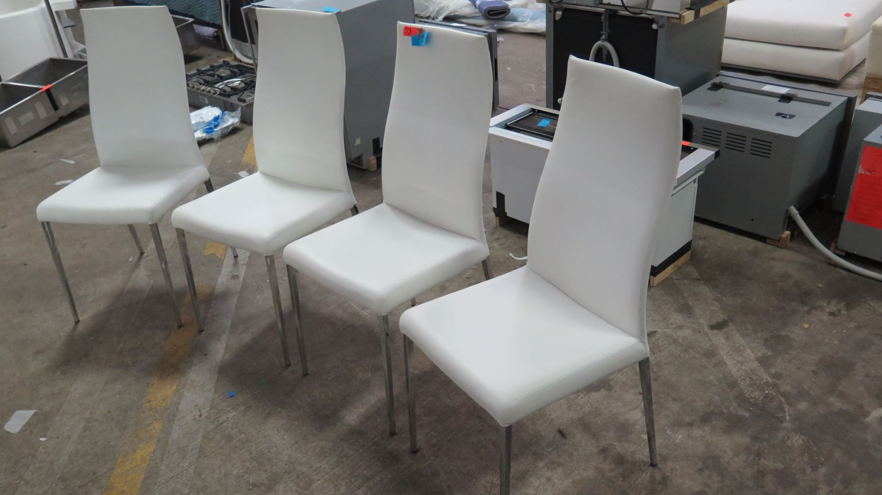 Swell Qty 4 White Leather Chairs From Cattelan Italia 18W 41 5 Ibusinesslaw Wood Chair Design Ideas Ibusinesslaworg