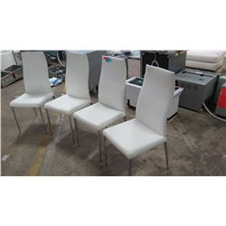 "Qty 4 White Leather Chairs from Cattelan Italia, 18""W, 41.5""H"
