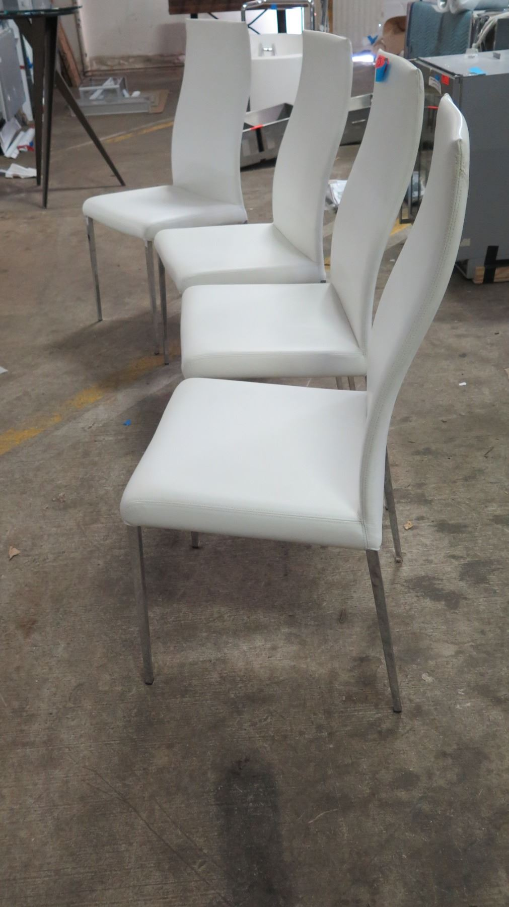 Awe Inspiring Qty 4 White Leather Chairs From Cattelan Italia 18W 41 5 Ibusinesslaw Wood Chair Design Ideas Ibusinesslaworg
