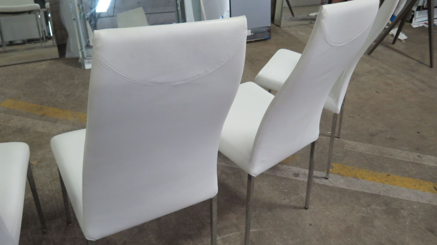 Peachy Qty 4 White Leather Chairs From Cattelan Italia 18W 41 5 Ibusinesslaw Wood Chair Design Ideas Ibusinesslaworg