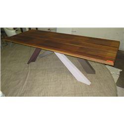 """Long Wooden Table w/ Multi-Tone Base 99"""" x 39"""" x 30"""" H"""