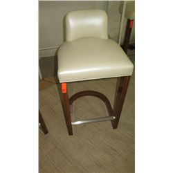 "Leather Barstool w/ Wooden Frame, 19""W x 17""D x 39"" H"