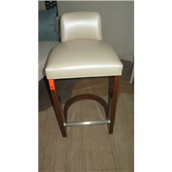 """Leather Barstool w/ Wooden Frame, 19""""W x 17""""D x 39"""" H"""