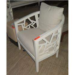 "White Crate & Barrel Lounge Chair w/ Cut-Out Frame, White Linen Cushion & Pillow 30x30x31""H"
