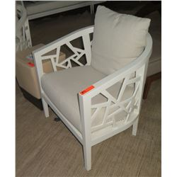 "White Crate & Barrel Lounge Chair w/ Cut-Out Frame, White Linen Cushion & Pillow 30x30x31""H"