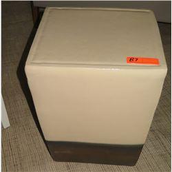 "Square Ceramic Side Table w/ Black Metal Base 15"" x 15"" x 19"" H"