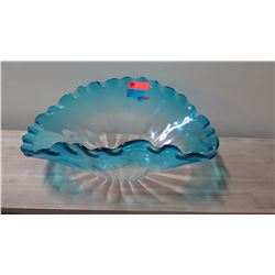"Large Blue Ombre Glass Fan Bowl, Approx. 18"" x 27"" 10.5"" H"