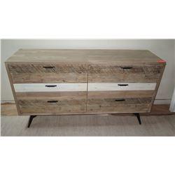 """Wooden Dresser w/ 6 Drawers, Natural Wood, 63"""", 18"""" depth, 35"""" H, Design Evolution"""