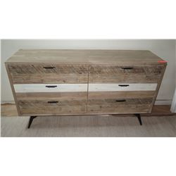 "Wooden Dresser w/ 6 Drawers, Natural Wood, 63"" L, 18"" D, 35"" H, Design Evolution"