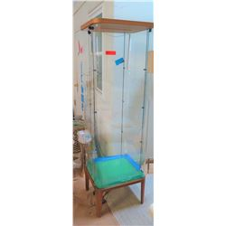 "Glass Display Cabinet on Wooden Stand, 19"" x 19"" x 70"" H"