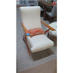 "Upholstered Wooden Reclining Armchair, Cream Woven Upholstery 23"" W x 26"" D x 36"" H"