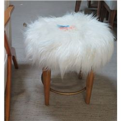 "White Faux Fur Stool w/ Wooden Base (21"" Dia, 19"" H)"