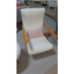 "Upholstered Wooden Reclining Armchair, Cream Woven Upholstery 23"" W x 26"" D x 36"" H"