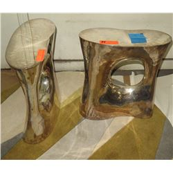 """Pair: Side Tables Metal Base Approx. 7"""" x 18"""" x 20"""" H"""