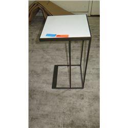 """Square Side Table w/ Black Metal Base 14"""" x 14"""" x 26"""" H"""