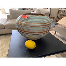 "Fishbowl Glass Vase, Sky Blue 9.5"" H, 13.5"" Dia."