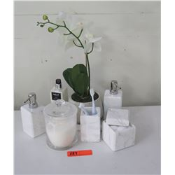 """Set of White Marble Dispensers, Toothbrush Holder, Cannister, Potted Faux Orchid, """"Nest"""" Lotion"""