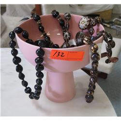 Pink Pedestal Bowl & Misc. Polished Kukui Nut & Polished Opihi Lei