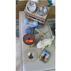 Staging Materials: Dog Bowls, Dog Toys, Picture Frames