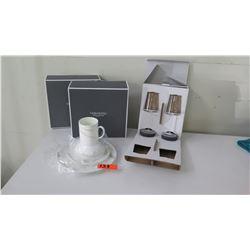 White Vera Plate, Cup & Saucer, 2 Stemmed Glassware