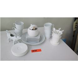 White Teacups, Saucers, Small Plates, Creamer, Honey Pot, etc.