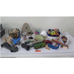 Staging Materials: Toys, Trains, Clock, Blocks, etc.
