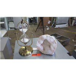 Mounted Hourglass & Crystal Geode