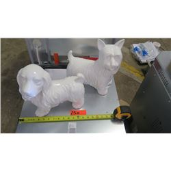 Staging Materials: 2 White Ceramic Dogs